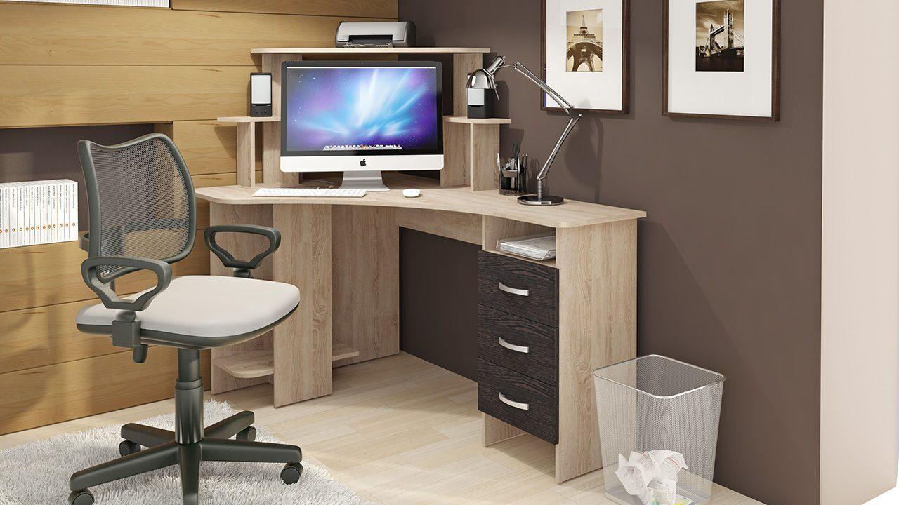 Угловой компьютерный стол бумеранг-3н (м) дуб сонома, венге .